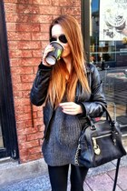 faux leather Zara jacket - cotton nastygal sweater - aviators rayban sunglasses