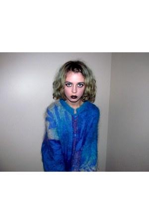 blue super fuzzy village discount sweater