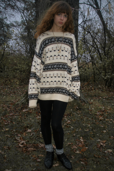 American Apparel leggings - Goodwill sweater - vintage boots - vintage necklace