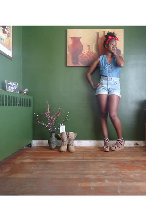 jean thrifted shorts - jean thrifted vest - herbergers Mia wedges