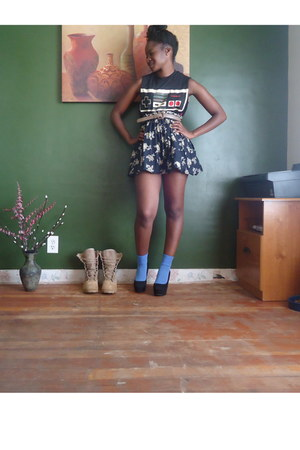 navy maxi floral thrifted skirt - black Walmart shirt
