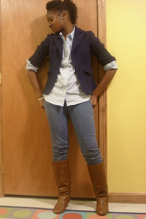 Forever 21 blazer - IZOD blouse - maavi jeans - Steve Madden Girl boots