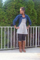 blue French Cuff jacket - Target dress - gold Claires accessories