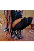 brown knitted Forever 21 sweater - socks - Jeffrey Campbell Litas pumps