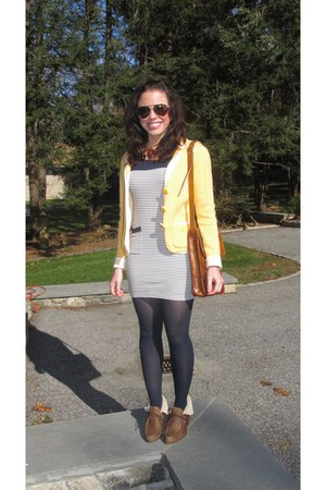 gold Steve Madden sunglasses - navy Forever 21 dress - yellow Halogen blazer