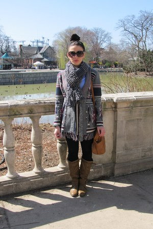 bronze LEI boots - charcoal gray Forever 21 sweater - light blue H&amp;M shirt - cha