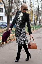 eggshell Moschino dress - black Zara coat - maroon H&M hat
