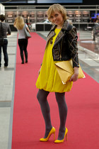 yellow COS dress - black H&M jacket