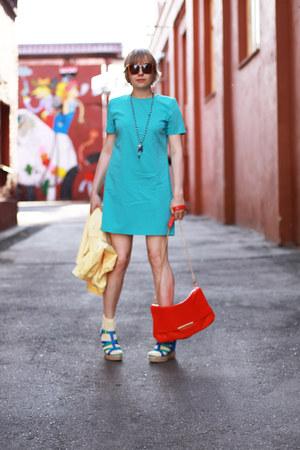aquamarine asos dress - light yellow BeFree coat - red Zara bag - cream Topshop