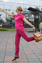 brick red Dsquared2 loafers - tawny Dolce&Gabbana bag - hot pink Zara pants