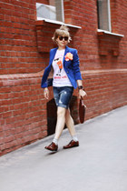 blue Zara jacket - crimson longchamp bag - navy pull&bear shorts