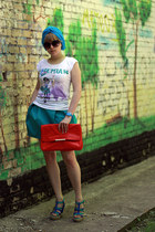 Zara bag - Accessorize sunglasses - Bershka t-shirt - Zara pumps - Zara skirt -