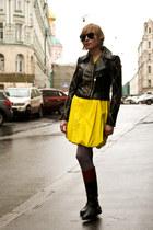black Versace and H&M jacket - brick red Ralph Lauren boots - yellow COS dress