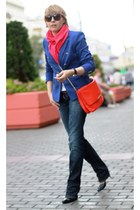 navy Dsquared2 jeans - blue Zara jacket - hot pink no brand scarf - red Zara bag