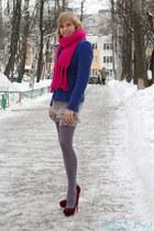 magenta Prada heels - heather gray Pinko dress - blue Zara jacket