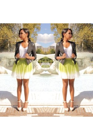 chartreuse Chicwish skirt - black biker jacket jacket - nude Aldo pumps heels