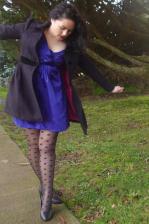 deep purple dress - hot pink black new look jacket