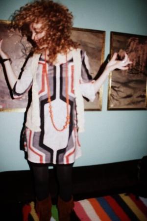 orange Renee C dress - beige Kenzie vest - brown Minnetonka boots - brown