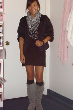American Apparel dress - Burberry jacket - H&M scarf - Steve Madden shoes - Fore