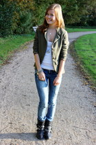 dark green Bershka blazer - white abercrombie and fitch top - sky blue Zara jean