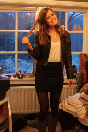 dark gray Bershka jacket - cream H&M top - black f21 skirt - black H&M tights -