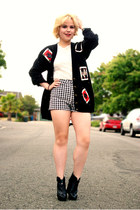 black cardigan Ebay cardigan - black and white Forever 21 shorts