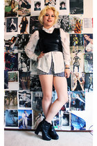 black crop pu Forever 21 top - houndstooth Forever 21 shorts