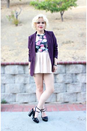 burgundyblazer H&M blazer - floral crop Nasty Gal top