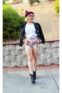 Black-nasty-gal-jacket-forever-21-shorts