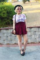 floral t-shirt Forever 21 top - Zara heels