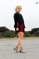 black H&M top - velvet red Ebay skirt