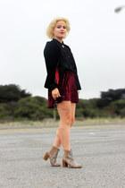 black H&M top - velvet red Ebay skirt