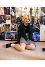 Green-asos-cardigan-houndstooth-brandy-melville-skirt