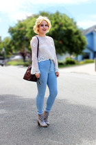 American Apparel jeans - lace sheer Forever 21 top