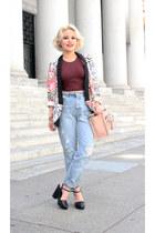 crop red American Apparel top - Zara pants