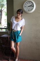 green diy vintage shorts - white supre t-shirt