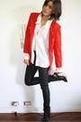 Red-blazer-white-blouse-black-h-m-jeans-black-senso-diffusion-boots