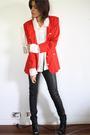 Red-vintage-blazer-white-vintage-blouse-black-h-m-jeans-black-senso-diffus