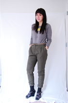 yellow Charlotte Rouse accessories - green H&M pants - gray Forever 21 sweater -
