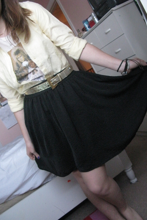 beige Hot Topic t-shirt - black winners skirt - yellow vintage shirt - gold vint