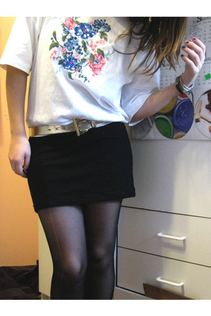 black Forever 21 skirt - gold vintage belt - white vintage top