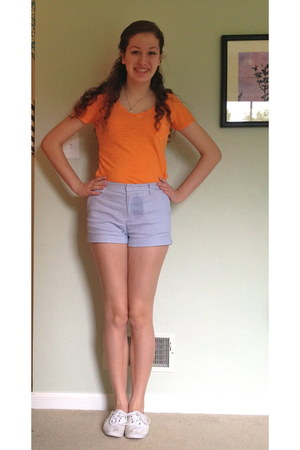 orange Gap t-shirt - blue striped Forever 21 shorts - white eyelet Keds sneakers