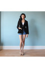 Velvet-fitted-blazer-denim-high-waist-shorts-wedges