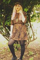 brown Zara hat - black Misbehave shoes - burnt orange Bershka dress