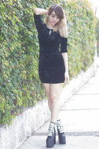 black UNIF boots - black velvet Forever 21 dress - silver no brand necklace