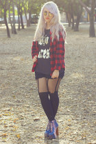 black House of Holland tights - ruby red plaid button up Zara blouse