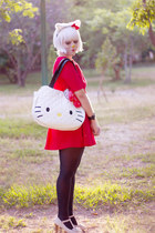 white t strap bow Liliana heels