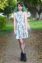 sky blue floral pull&bear dress - black Jeffrey Campbell boots