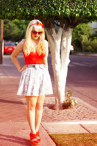 gray lace Zara skirt - red waffle Bamboo shoes