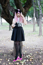 black Zara skirt - black bow headband Bershka accessories